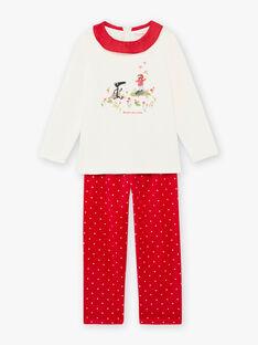 Set pigiama ecrù e rosso in velluto motivo lupo bambina BELOUPETTE / 21H5PFN1PYJ001