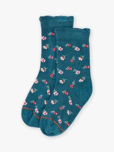 Calze blu motivi fiori bambina BOPUETTE / 21H4PF91SOQ714