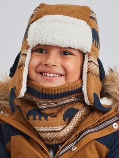 Colbacco cammello in maglia jacquard con motivi orso bambino BITETAGE / 21H4PGE3BON804