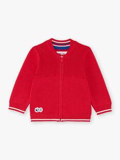Cardigan in maglia maniche lunghe rosso neonato BABERNIE / 21H1BG11GIL050