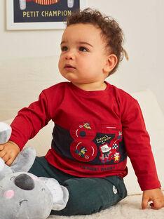 T-shirt maniche lunghe rossa motivo fantasia automobile neonato BAPEPITO / 21H1BGM1TMLF528