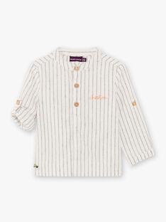 Camicia ecrù e navy a righe neonato BADIEGO / 21H1BG21CHM632