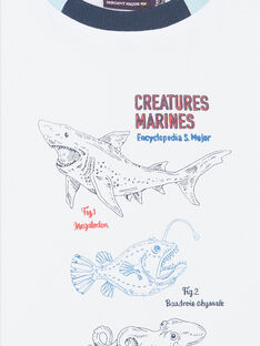 T-shirt bianca con motivi animali marini bambino ZINUAGE / 21E3PGT2TMC000