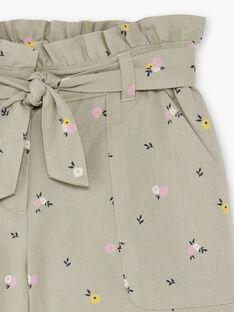 Shorts kaki con stampa a fiori bambina BESHORETTE / 21H2PF21SHO604